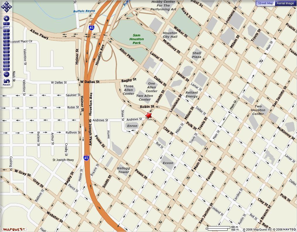 Houston downtown-map - Karte von der Innenstadt von Houston ...