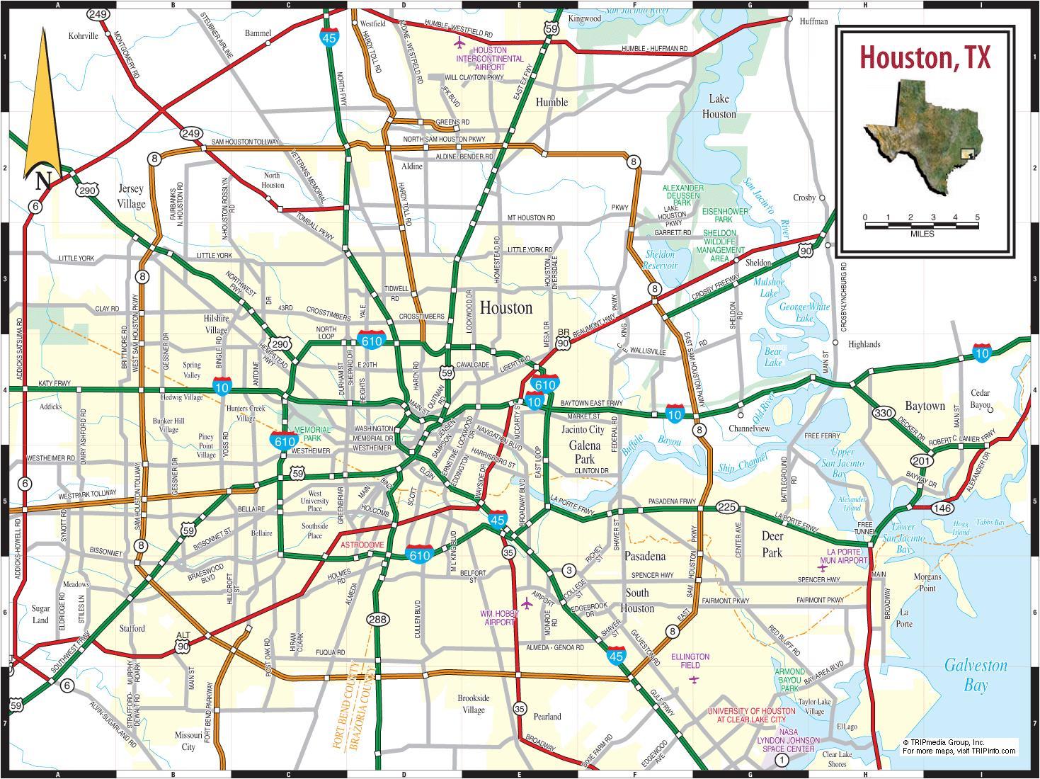 Houston-Stadtplan - City of Houston-Karte (Texas - USA)