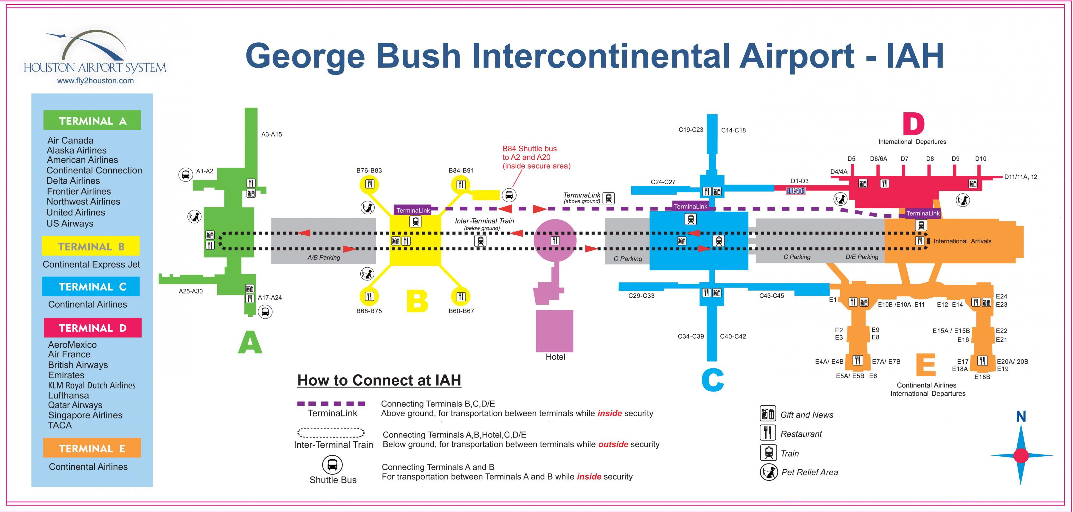 IAH terminal c-map - Houston Flughafen-terminal c-Karte (Texas - USA)