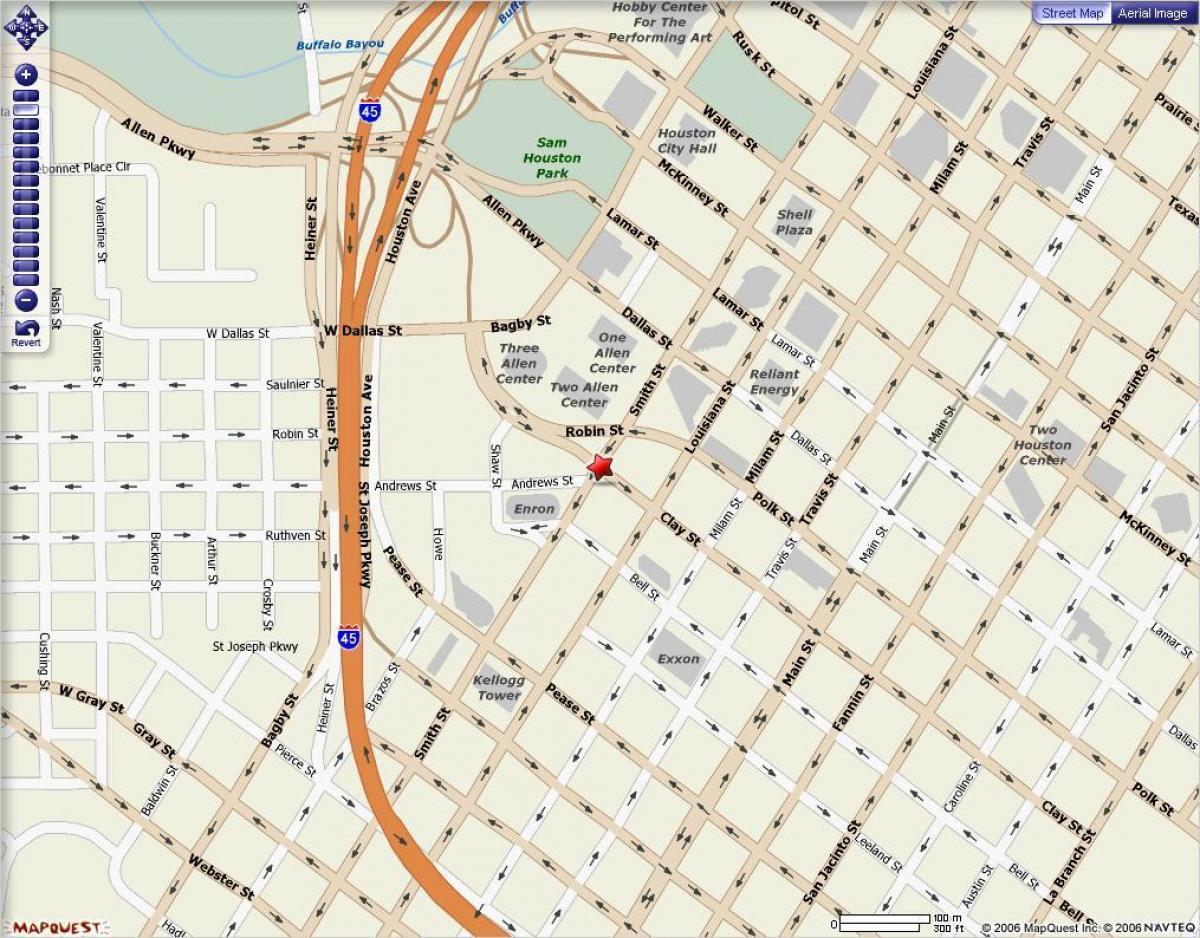 Houston downtown-map - Karte von der Innenstadt von Houston (Texas ...