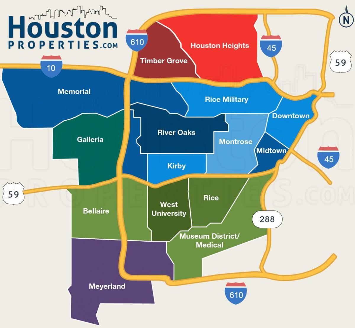 Houston school district anzeigen - HISD Schule zone-Karte (Texas - USA)