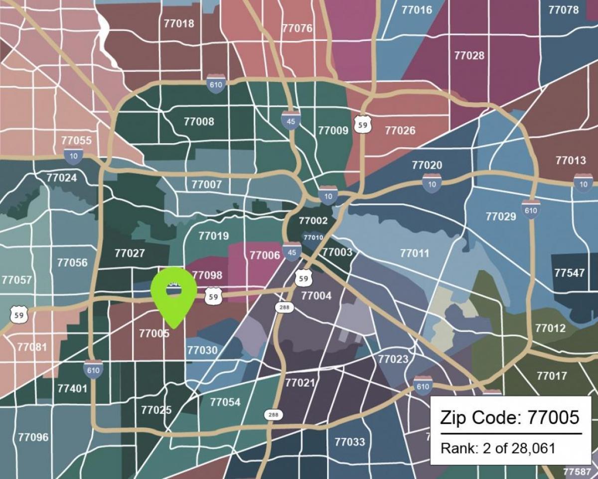 Zip code map-Houston - Houston-Karte mit Postleitzahlen (Texas - USA)